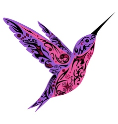 Humming bird violet color vector