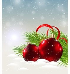 Two shining red decorations in snow vector