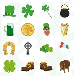 Irish patrick day colorful cartoon icons set vector