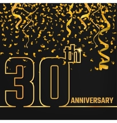 Anniversary outline gold a vector