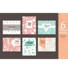 Six vintage floral wedding thank you card set with vector