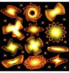 A set of neon shining brilliant fiery design eleme vector