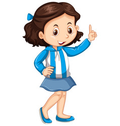 Argentina girl in blue and white striped jacket vector