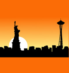 At sunset seattle space needle tower silhouettes vector