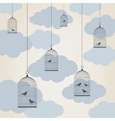 Birdie in a cage vector