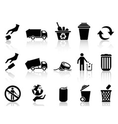 black garbage icons set vector image vector image