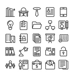 Business and office line icons 7 vector