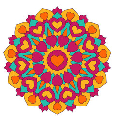 colored mandala with hearts round symmetrical vector image
