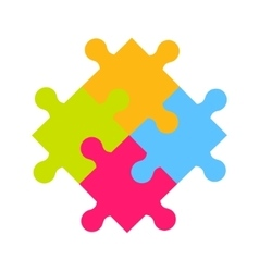 Colorful four puzzle pieces vector image