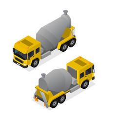 Concrete mixer isometric view vector