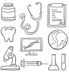Doodle of medical object set vector