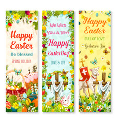 Easter holiday symbols greeting banner set design vector