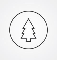 Fir-tree outline symbol dark on white background vector