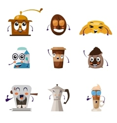 Funny cartoon characters icon set vector