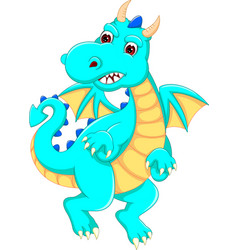 Funny dragon cartoon posing with laughing vector