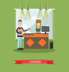 grocery store cashier in flat vector image
