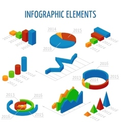 Isometric 3d charts set for infographics vector image vector image