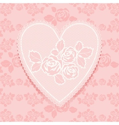 Lace pink in heart shape vector image