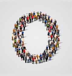 large group of people in letter o form vector image vector image