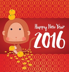 Monkey happy new year 2016 card vector