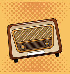old radio pop art cartoon vector image