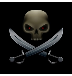 pirate skull with sabers vector image vector image