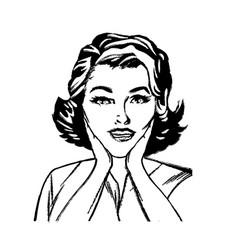 Portrait woman surprise attitude pop art sketch vector