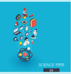 science integrated 3d web icons growth and vector image vector image