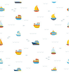 seamless pattern with nautical design elements vector image vector image
