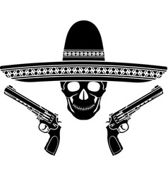 Skull with sombrero and two pistols vector