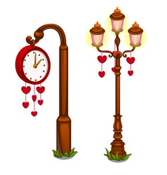 Street clock and lantern with hearts vector