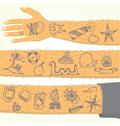 Tattoo on long hand isolated vector image