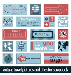 Vintage travel pictures and titles vector