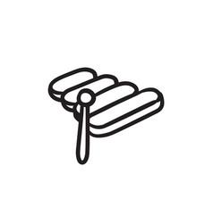 Xylophone sketch icon vector