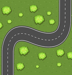 Aerial view of road on the green land vector