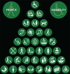 Pyramid disability and people icon collection vector