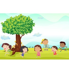 Six children running in park vector