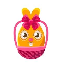 Easter egg shaped orange easter bunny in wicker vector