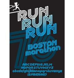 Boston marathon run font vector