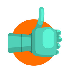 Metal android hand showing thumb up part of vector