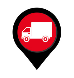 map pointer with truck with wagon vector image