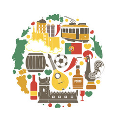 portuguese attributive colorful objects in round vector image