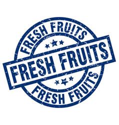 Fresh fruits blue round grunge stamp vector