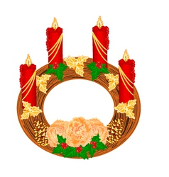 Christmas decoration circular advent wreath vector