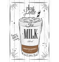 Poster iced latte vector
