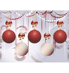 Red and white xmas balls vector