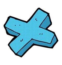 Comic cartoon negative cross symbol vector