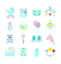 Baby colored icon set vector
