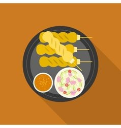 Satay grilled pork or meat with sauce vector
