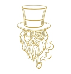 Steampunk old man in top hat and glasses with the vector image